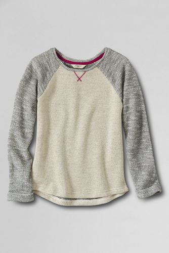 Little Girls' Uneven Hem Marled French Terry Sweatshirt