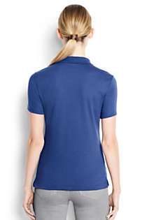 Women's Short Sleeve Feminine Fit Hemmed Pima Polo, Back