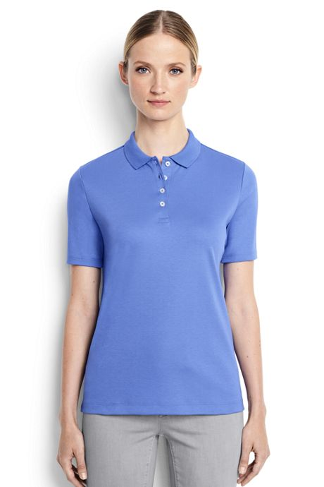 Women's Short Sleeve Relaxed Fit Hemmed Pima Polo Shirt