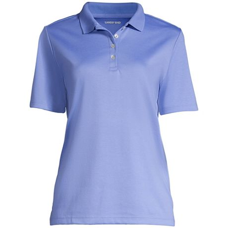 Women's Embroidered Logo Hemmed Short Sleeve Pima Cotton Polo Shirt