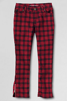 Girls' Plaid 5 Pocket Zip Hem Pencil Trousers