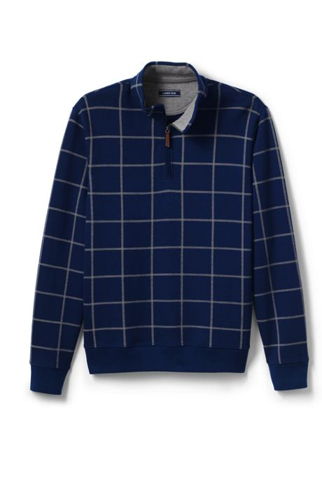 Men's Tall Bedford Rib Printed Half Zip Mock Pullover