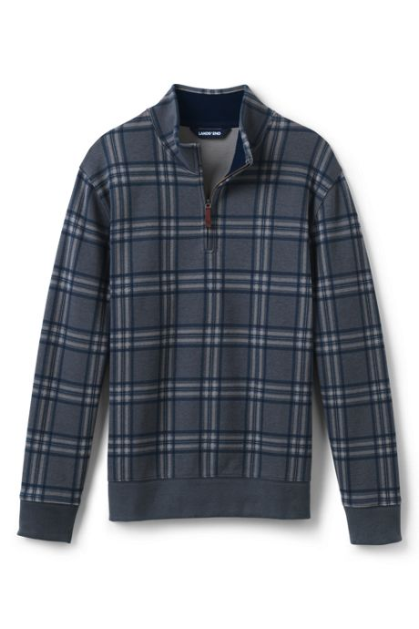 Men's Big and Tall Print Bedford Rib Quarter Zip Sweater