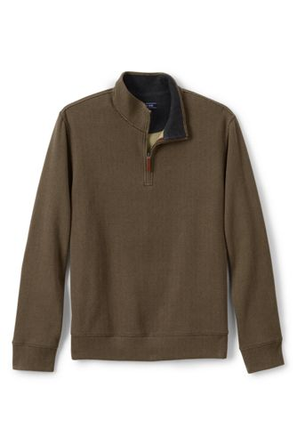 Men's Brushed Rib Half Zip Jumper, Patterned