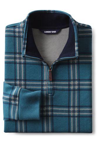 Men's Tall Print Bedford Rib Quarter Zip Sweater