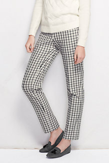 Women's Mid Rise Plaid Slim-leg Stretch Twill Trousers