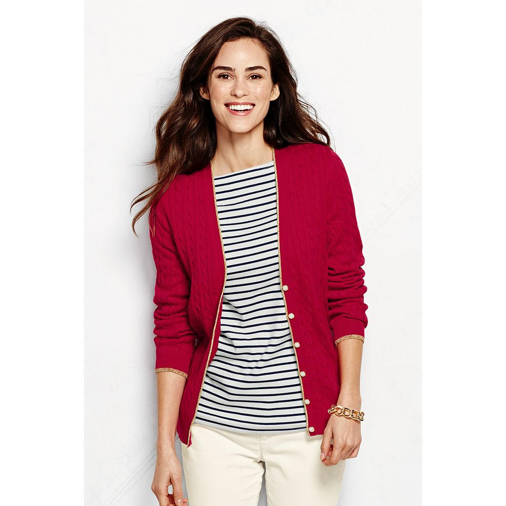 Lands' End Women's Cotton Cable Tipped V-neck Cardigan Sweater