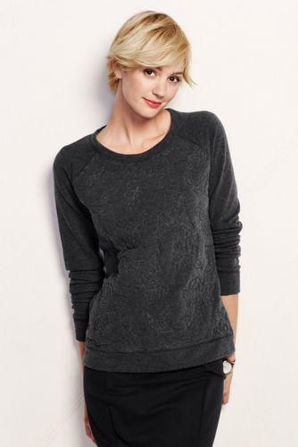 French Terry-Sweatshirt mit Rosenstickerei-Front