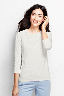 Women's  Supima Lace Trim Three-Quarter Sleeve Crew Neck Jumper