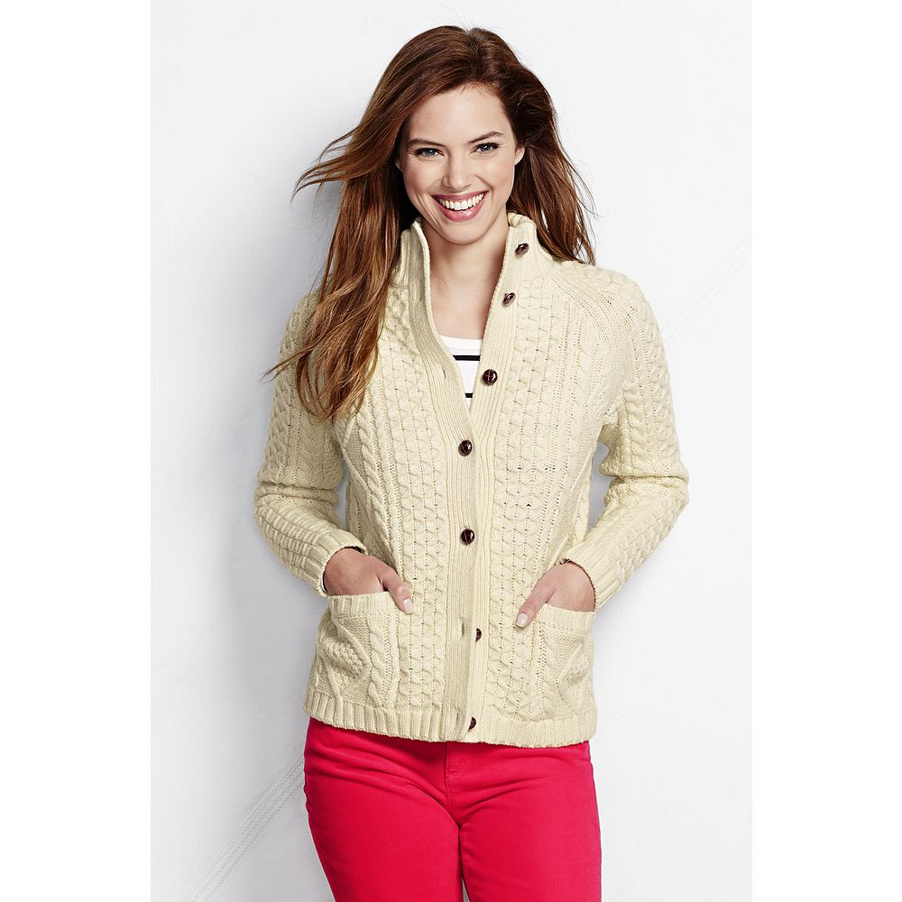 Lands' End Women's Lambswool Aran Cardigan Sweater