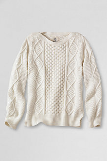 Girls' Long Sleeve Aran Cable Boatneck Jumper