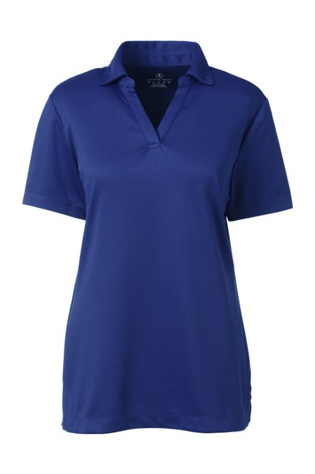Women's Short Sleeve Active Mesh Johnny Collar Polo Shirt