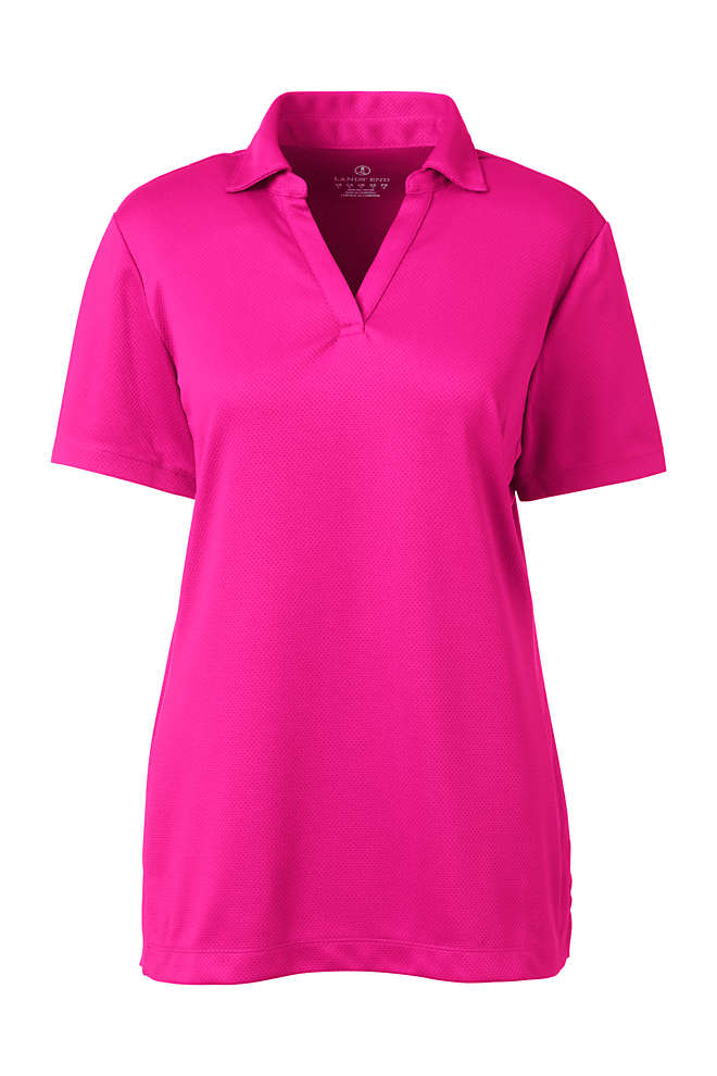 Women's Short Sleeve Active Mesh Johnny Collar Polo, Front