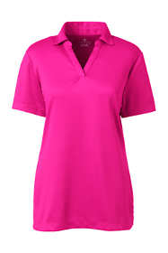 Women's Plus Size Short Sleeve Active Mesh Johnny Collar Polo