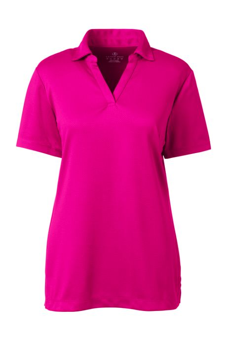 Women's Short Sleeve Active Mesh Johnny Collar Polo Shirt