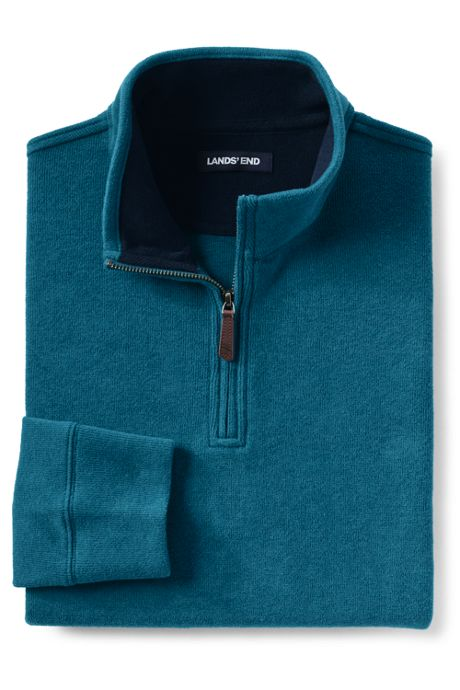 Men's Big & Tall Bedford Rib Heathered Half-zip Mock Pullover