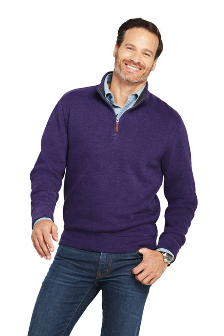 Men's Tall Bedford Rib Heathered Quarter Zip Sweater
