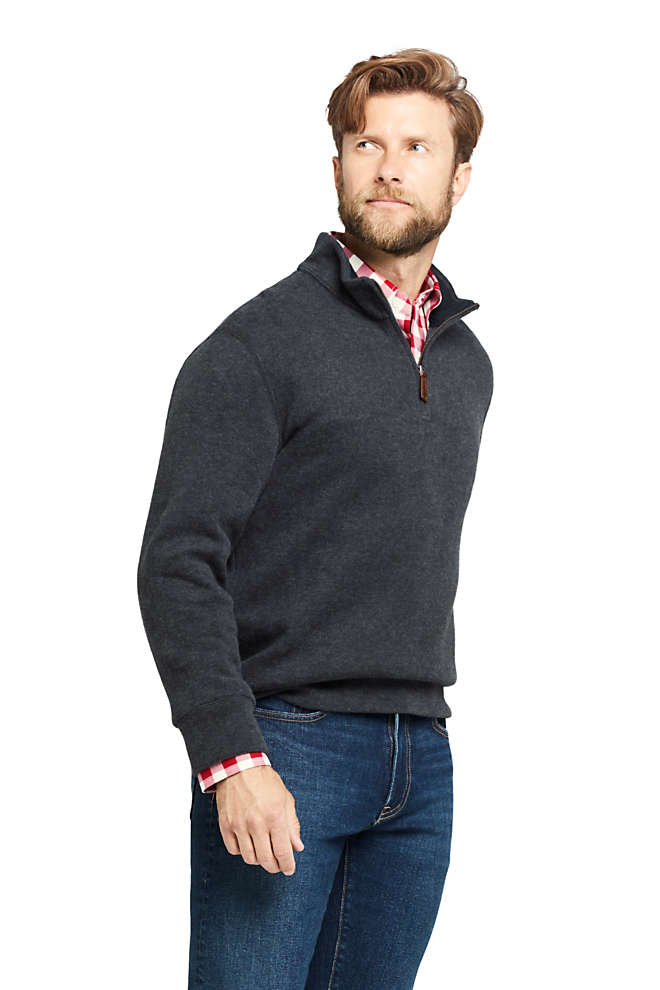 Men's Bedford Rib Heathered Quarter Zip Sweater, Front