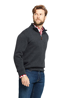 Men's Brushed Rib Half Zip Jumper, Heather