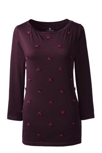 Baumwoll/Viskose-Shirt mit Blüten-Applikationen