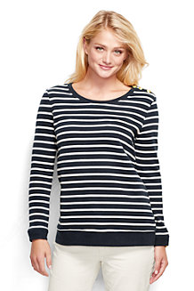 Women's  Fitted Breton Stripe Sweatshirt