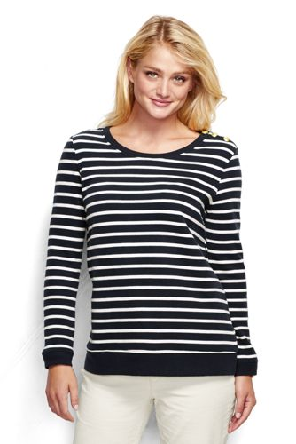 French Terry-Sweatshirt mit Bretonstreifen