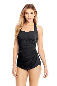 Women's Petite Slender Tunic One Piece Swimsuit with Tummy Control