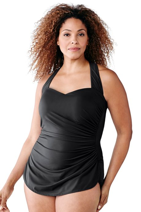 Women Plus Size G-Cup Slender Tunic One Piece Swimsuit with Tummy Control