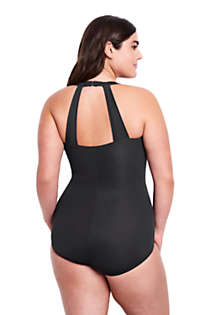 Women's Plus Size DD-Cup Slender Tunic One Piece Swimsuit with Tummy Control, Back
