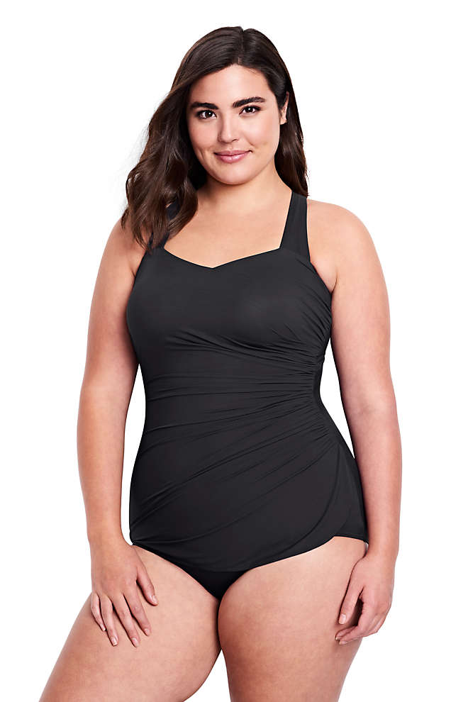 Women's Plus Size DD-Cup Slender Tunic One Piece Swimsuit with Tummy Control, Front