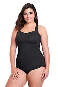 Women's Plus Size DD-Cup Slender Tunic One Piece Swimsuit with Tummy Control