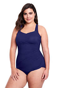 Women's Plus Size DDD-Cup Slender Tunic One Piece Swimsuit with Tummy Control