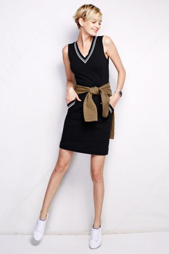 Women's Regular Tipped V-neck Sheath Dress