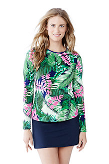 Women's Rash Guard Swim Tee - Leaf Design