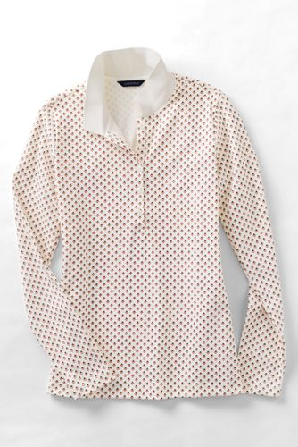 Women's Regular Slim Fit Dot Print Long Sleeve Pima Polo