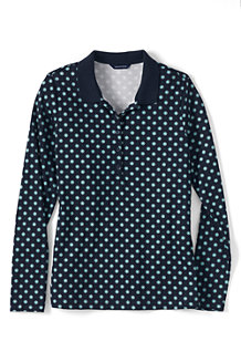 Women's Slim Fit Dot Print Long Sleeve Pima Polo