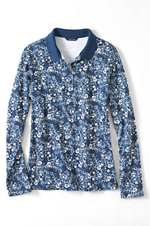 Women's Long Sleeved Pima Polo Print