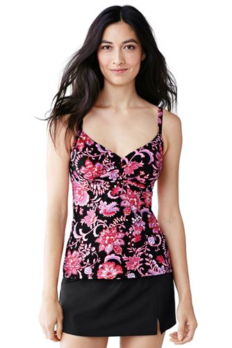 Women's Regular Beach Living Crossover Tankini Top - Floral