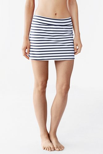 Women's Beach Living SwimMini Swim Skirt - Classic Stripe - White/Deep Sea Stripe, 8