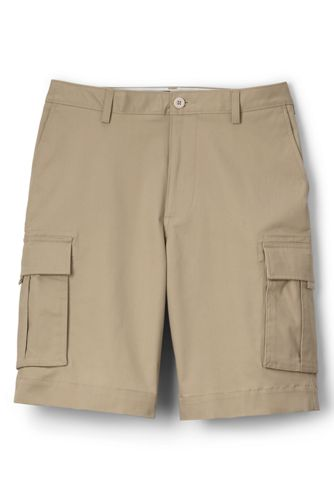 Mens Cargo Chino Shorts - 32 - Grey Lands End