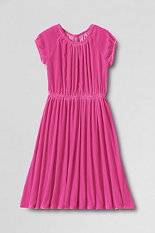 Girls Short Sleeve Velveteen Twirl Dress