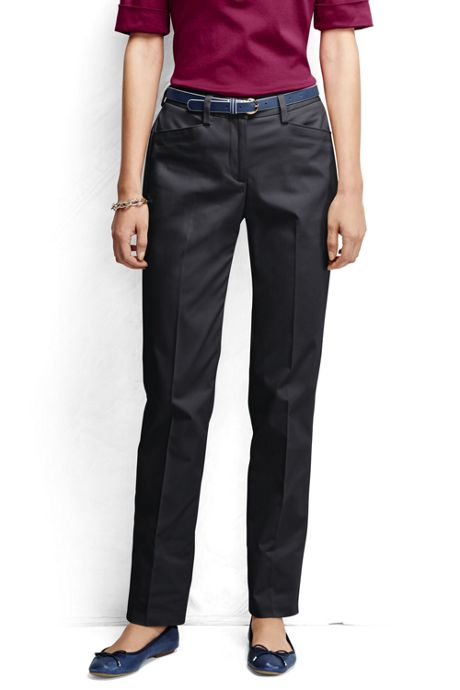 Women's Petite Plain Straight Leg Chino Pants