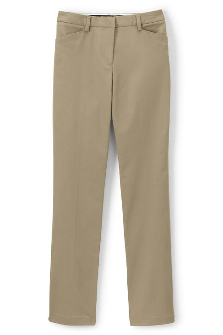 Women's Straight Plain Front Straight Leg Chino Pants