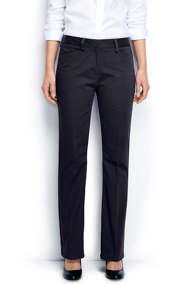 Women's Straight Fit Plain Boot Cut Chino Pants, Front