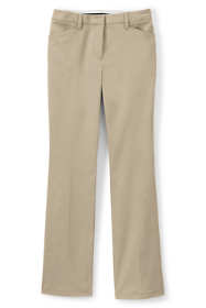 Women's Petite Straight Fit Plain Boot Cut Chino Pants