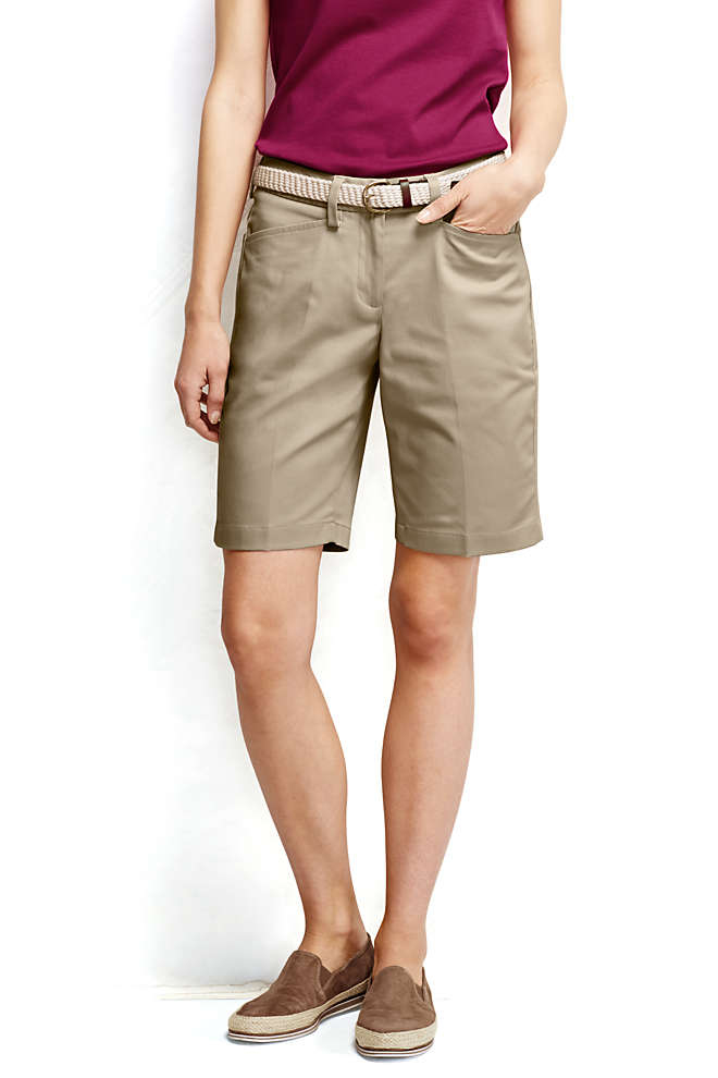 "Women's Petite Straight Fit Plain 10"" Chino Shorts, Front"
