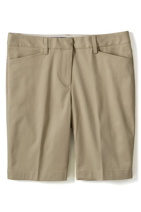 Women's Plus Size Straight Fit Plain 10 Inch Chino Shorts