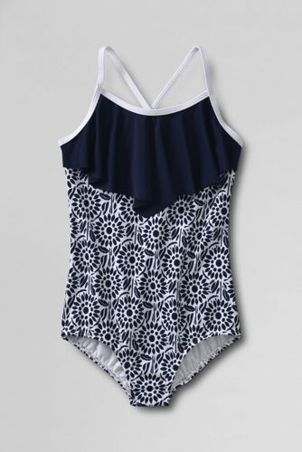 Little Girls' Bohemian Beach Ruffle Swimsuit