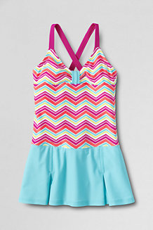 Girls' Colourblock Smart Swim Skirted Swimsuit