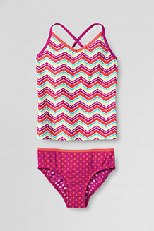 Girls' Smart Swim V-Neck Patterned Tankini Set